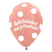 Festivalshop - 1 Ballon communie gebold metallic rose - STR12CO568