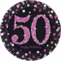 Festivalshop - Eetborden Happy Birthday pink 50 jr - AM9900612